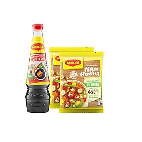 [Chỉ Giao HCM] Combo Maggi vị chay: 2 gói hạt nêm nấm hương 450g + 1 chai nước tương đậm đặc 700ml