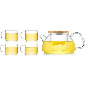 Bộ bình trà hoa thủy tinh Samadoyo T92 600mL