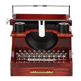 Retro Typewriter Shape Clockwork Spring Music Box Toy Desk Decor for Home Office