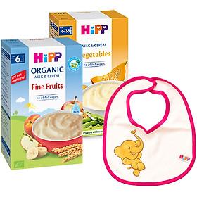 Combo 2 Bột Dinh Dưỡng Hoa Quả Tổng Hợp (Táo, Chuối, Lê, Mơ) HiPP 250g - 3141& Bột Sữa Và Ngũ Cốc Rau Củ Tổng Hợp HiPP - 3321 (250g) Tặng Kèm 1 Yếm Ăn Dặm HiPP