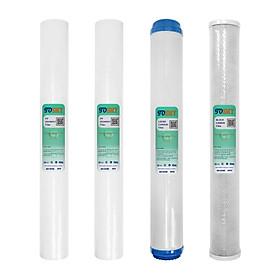 Bộ 4 lõi lọc nước (02 lõi số 1 + 01 lõi số 2 + 01 lõi số 3) SMY 20 inch dùng cho bộ lọc thô, bộ lọc R.O 50L/h (Hàng chính hang)