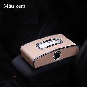 Hộp đựng khăn giấy kiêm bảng số điện thoại và đồng hồ cao cấp đặt taplo ô tô, xe hơi TB-6137