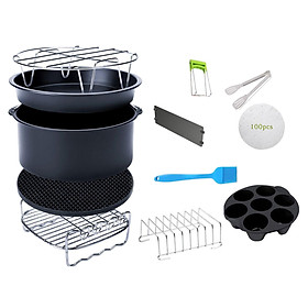 "12pcs/set 8"" Air Fryer Accessories 4.2QT-6.8QT Skewers Rack Baking Papers"