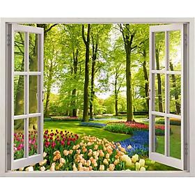 Tranh dán tường cửa sổ 3D VTC vườn hoa VT0033