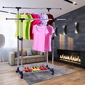 Giàn phơi quần áo 2 tầng thông minh cho gia đình