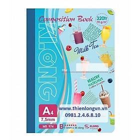 Sổ may dán gáy A4 - 320 trang; Klong 974 xanh biển