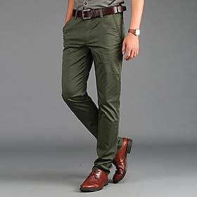 Men's Chinos Cotton Straight Fashion Business Long Pants Casual Formal Trousers