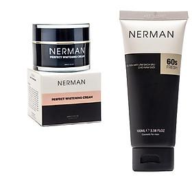 Combo dưỡng trắng da Nerman dùng cho nam giới bao gồm 1 Gel rửa mặt 100ml và 1 kem dưỡng trắng 30g