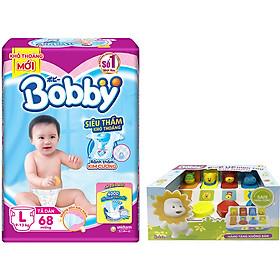 Tã Dán Bobby Êm Mềm Khô Thoáng L68 (68 Miếng) - Tặng 1 hộp đồ chơi pop-up animal