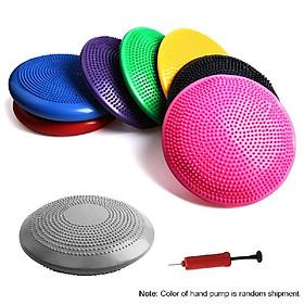 33CM Yoga Balance Disc Inflatable Stability Wobble Cushion Free Hand Pump-4
