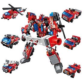 Đồ chơi giáo dục - Đồ chơi xếp hình lắp rap - Bộ Lego xếp hình  đồ chơi lắp ráp mô hình siêu nhân robot từ khủng long đỏ  trí tuệ 6 trong 1 cho bé thích khám phá