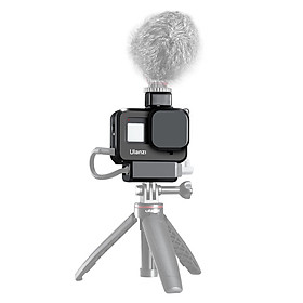 Ulanzi G8-9 Plastic Cage Case Vlogging Protection Frame with Microphone Cold Shoe Mount and Lens Filter Adapter Action