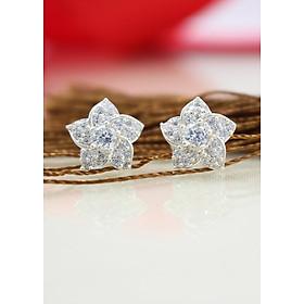 Bông tai bạc nữ hình bông hoa đính đá tinh tế BTN0045