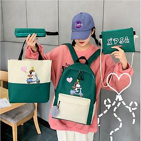 Balo Combo 4 món nữ laptop học sinh Sinh viên ulzzang cặp đi học XPS Dog - MunNiNi