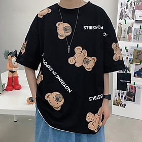 2 Color【M-3XL】 Summer New Style Fashion Trend Printed Graphic Short Sleeve T-shirt Men Breathable Unisex Half Sleeve T-shirt Oversize Student Short T-shirt Couple Wear