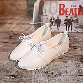 IELGY Lace-up flat women's shoes fashion comfortable shallow mouth trend white casual shoes