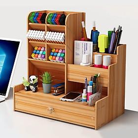 Hộp bút để bàn, kệ đựng bút nhiều ngăn BIBOTOYHB15 bằng gỗ phong cách thời trang sang trọng, dùng trang trí bàn làm việc và để được nhiều đồ dùng văn phòng - Tặng kèm 1 móc khóa la bàn sao biển