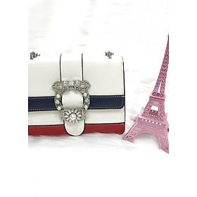 Hình đại diện sản phẩm Túi xách thời trang - Hoa đá pha - Trắng
