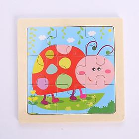 Đồ chơi xếp hình lắp ráp Tranh Ghép gỗ 9 mảnh nhiều hình Ngộ Nghĩnh size nhỏ 11x11