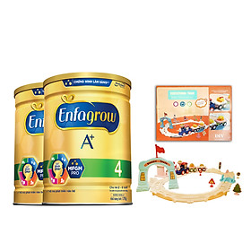 Bộ 2 Lon Sữa Bột Enfagrow A+ 4 Với DHA Và MFGM Cho Trẻ Từ 2-6 Tuổi – Lon 1.7kg - Tặng 1 Đồ Chơi Mô Hình Đoàn Tàu Dùng Pin
