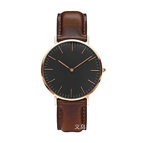 Đồng hồ thời trang dây da unisex (nam-nữ)  Geneva PKHRGE068 - mặt đen
