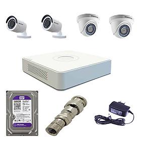 Trọn bộ 4 camera Hikvision  DS-2CE56D0T-IRP + DS-2CE16D0T-IRP full HD 2mp và đầu ghi DS-7104HGHI-F1- Hàng chính hãng