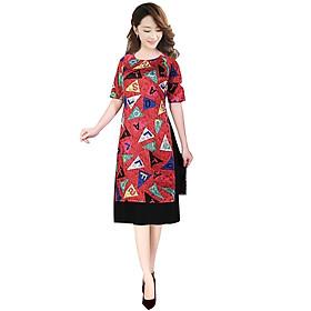 Áo dài nữ kèm chân váy khối màu SP4