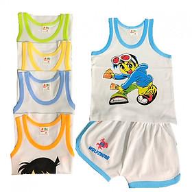 Combo 5 bộ quần áo cotton mẫu BA LỖ trắng viền màu SUSU cho bé trai