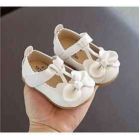 Giày búp bê tập đi chống trượt mềm quai dán đính nơ cho bé gái