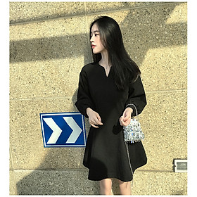 Đầm Nữ Chữ A Tay Dài Dáng Suông - Váy Nữ Đen Thời Trang Phong Cách Hàn Quốc