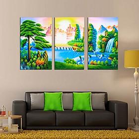Tranh Canvas treo tường nghệ thuật | Tranh bộ nghệ thuật 3 bức | HLB_120