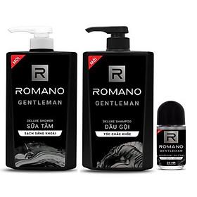 Combo dầu gội và sữa tắm Romano Gentlemen 650g*2 tặng kèm lăn khử mùi 40ml