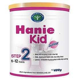 Sữa bột Hanie Kid 2 dành cho trẻ biếng ăn & suy dinh dưỡng 6-12 tháng tuổi (400g)-0