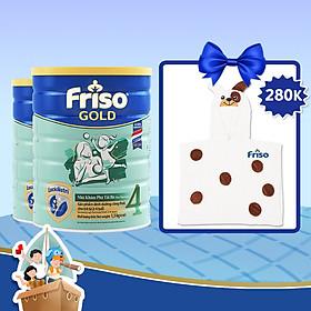 Combo 2 Lon Sữa Bột Friso Gold 4 Cho Trẻ Từ 2-4 Tuổi 1.5kg + Tặng Khăn Choàng Tắm Cho Bé