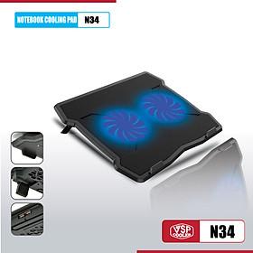 Đế tản nhiệt cho laptop Notebook cooler pad N34 LED - Hàng chính hãng