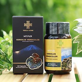 Nấm vân chi núi Phú sĩ Nhật Bản - Tăng sức đề kháng giúp phòng ngừa bệnh, tăng hệ miễn dịch - Teresa Herbs Mt Fuji Coriolus Versicolor 60 Capsules Nutritional Supplement (Made in USA, 60 viên 500mg)
