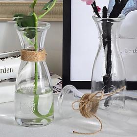 Bộ 2 bình bông lọ hoa thủy tinh eo nhỏ cao 18cm kiểu dáng ấn tượng dùng cắm hoa trang trí hoặc làm ly đựng nước ép hoa quả sành điệu tặng kèm dây trang trí nhỏ