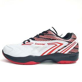 Giày bóng chuyền, bóng bàn nam nữ chuyên dụng Kawasaki K082 màu trắng phối đen đỏ, Da PU đế kép 2 lớp, bám sàn cực tốt - phân phối chính hãng
