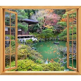 Tranh dán tường cửa sổ gỗ 3D cảnh hồ cá VTC GO0217-2