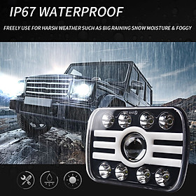 1PCS Car LED Headlight 7in 500W Square H-type Headlamp Super Bright H4 Plug Replacement for Jeep Wrangler Land Rover