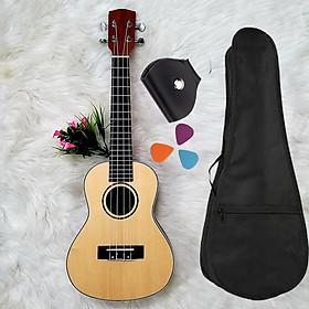 Đàn Ukulele Concert (23') gỗ nguyên tấm - K èm phụ kện Giáo trình, Bao, Pick, Pick Bag