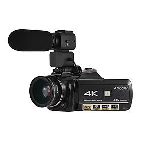 Máy Quay Phim Andoer AC3 4K Có Lens Rời Kết Nối Wifi Màn Hình Cảm ứng + Micro Rời (24MP) (3.1 Inch) (Zoom 30X) (0.45X Lens)