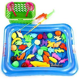 Bộ đồ chơi câu cá - Hình Rổ Đựng, sinh vật biển và màu Ngẫu Nhiên