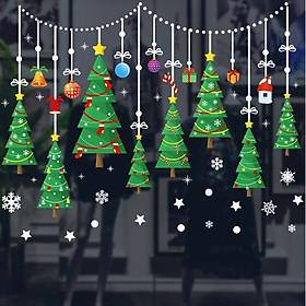 Bộ Decal Trang Trí Giáng Sinh Noel Rèm Cây Thông