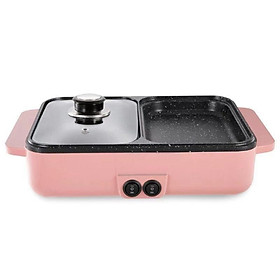 Bếp điện 2 ngăn 2 trong 1 vừa ăn lẩu vừa ăn nướng, chống dính tiện lợi 2-5 người ăn