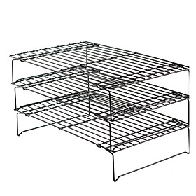 3 Layer Large Wire Grid Cooling Tray Cake Food Rack Oven Kitchen Baking Pizza Bread Barbecue Cookie Biscuit Holder Shelf