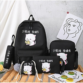 Balo đi học nữ 4 món mèo Balo + túi đeo chéo nữ + ví nữ + hộp bút ( không kèm ví Rút)