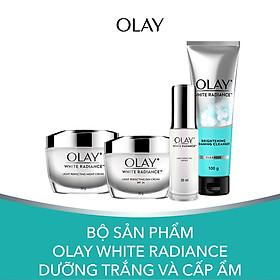 Bộ Sản Phẩm Olay White Radiance Dưỡng Trắng và Cấp Ẩm (Kem dưỡng trắng da ban ngày, Kem dưỡng trắng da ban đêm, Tinh chất dưỡng trắng da, Sữa rửa mặt)