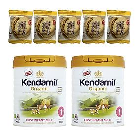 Combo 2 hộp Sữa Nguyên kem công thức hữu cơ KENDAMIL ORGANNIC số 1: ORGANIC FIRST INFANT MILK (800G) ( cho trẻ từ 0-6 tháng tuổi) - Tăng sức đề kháng, tăng cân, phát triển chiều cao và trí não – Tặng 5 bánh quy Nhật Bản hiệu Aee