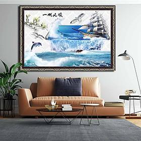 Tranh canvas phong thủy treo tường - Thuận buồm xuôi gió - TBXG004 - Khung hoa văn sang trọng - 120x80cm